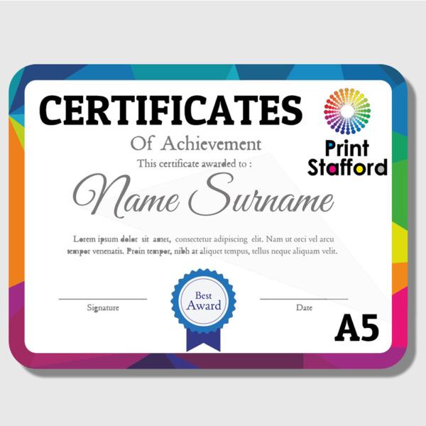 A5 Certificates